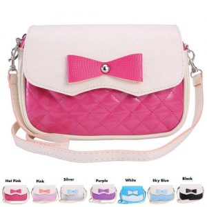 Pretty Small Shoulder Bag Front Bowknot PU Leather Girls Fashion