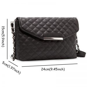 Fancy Chain Plain Plaid Shoulder Bag Casual Women Fashion