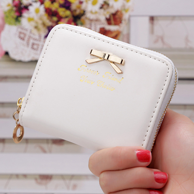 Elegant Small Bowknot PU Leather Coin Credit Card Women Wallet