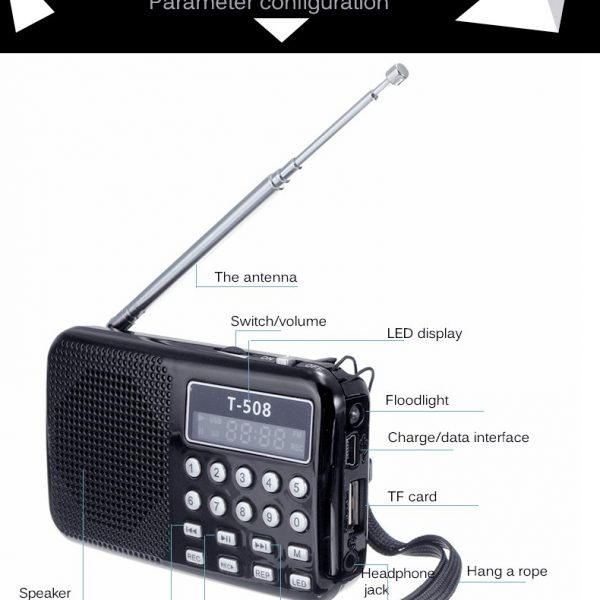 Small Portable Stereo Radio Micro Card Slot Music Player