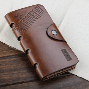 High Quality Genuine Leather Long Men Multi Pockets Wallet