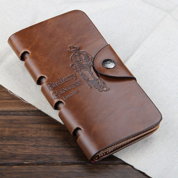High Quality Genuine Leather Long Men Multi-Pockets Wallet
