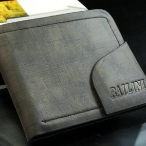 Stylish Pattern Genuine Leather Snap Button Men Wallet