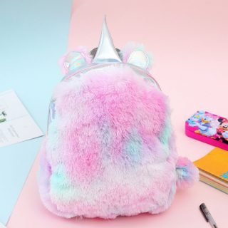 Cute Small Kids Fuzzy Multi Color Zipper Pouch Backpack