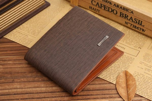 Genuine Leather Brown Credit Card Bifold Men Wallet