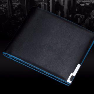 Premium Blue Surround Style Black PU Leather Men Wallet