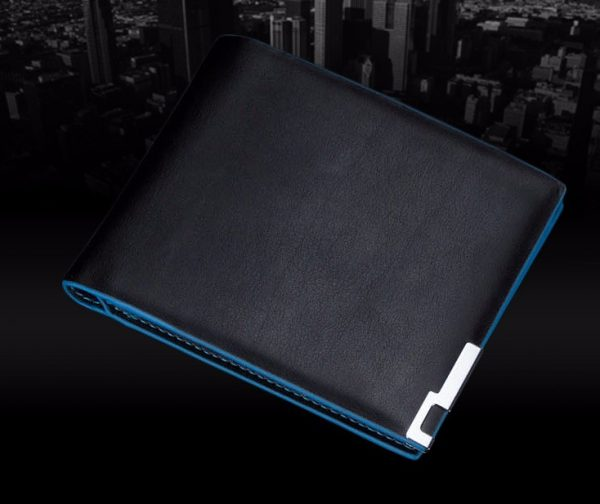 Premium Blue Surround Style Black PU Leather Men Wallet