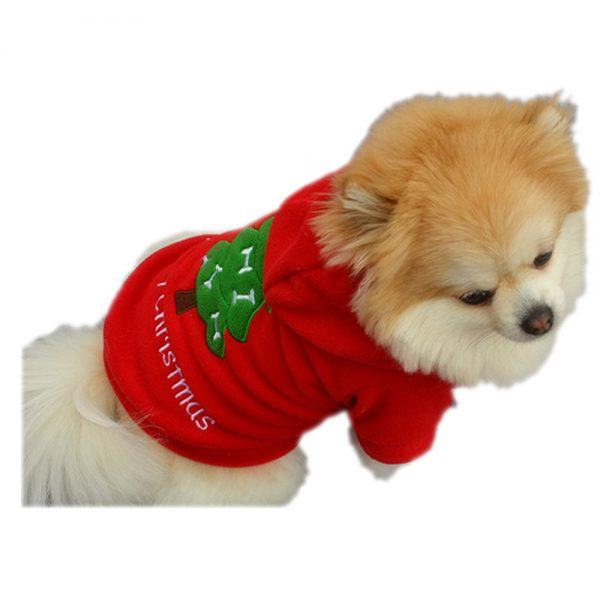 Merry Christmas Holiday Puppy Red Clothes Costume