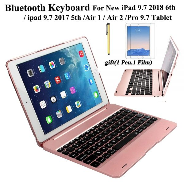 Wireless Bluetooth Keyboard Case iPad 9.7 2017 2018 5th 6th Generation iPad Air 1 2 Pro 9.7 Plus Free Stylus & Film Screen Protector