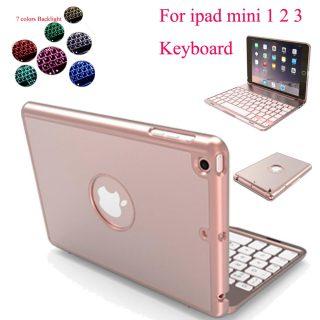 7 Backlight Bluetooth Keyboard Case IPad Mini 1 2 3 Aluminum Language Customize