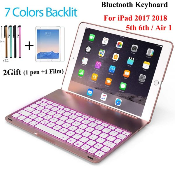 7 Colors BackLight Wireless Bluetooth Keyboard Case Apple iPad Air 2 / IPad PRO 9.7 Russian/Spanish Keyboard Customize