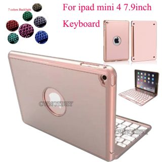7 Colors Backlight Wireless Bluetooth Keyboard For Apple iPad Mini 4 Plus Free Stylus & Film Screen Protection