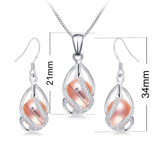 925 Sterling Silver Genuine Natural Freshwater Pearl Necklace Pendant Drop Earrings Women Jewelry Set