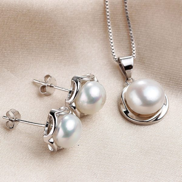 925 Sterling Silver Genuine Natural Freshwater Pearl Pendant Necklace Earrings Women Jewelry Set