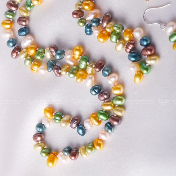 Colorful Freshwater Pearl Necklace Bracelet Earrings Jewelry Set