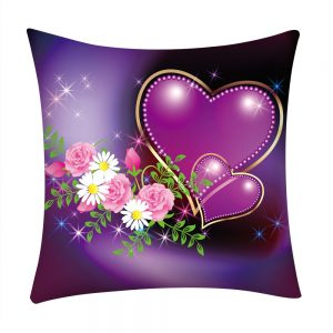 Heart Valentine Love Red Rose Print Polyester Pillow Case