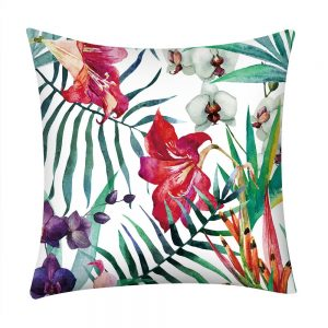 Spring Bright Colorful Flower Polyester Pillow Case Cover Home Decor