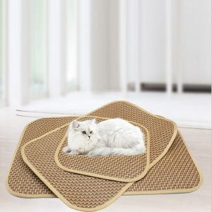 Cat Dog Pet Bed Mat Cool Pad Comfy Straw Bamboo Cushion