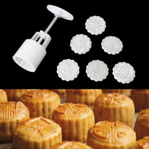 Six Pieces Set Mini Moon Cake Mold Hand Pressure Flower Pastry