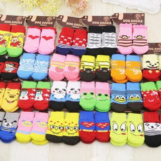 Four Pieces Set Warm Winter Anti Skid Puppy Dog Cat Pet Socks