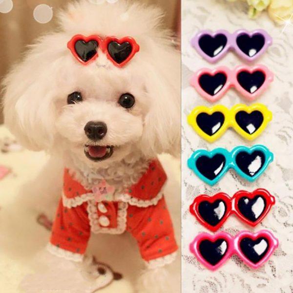 Ten Pieces Set Pet Dog Cat Hair Clips Sunglasses Shape Accessories