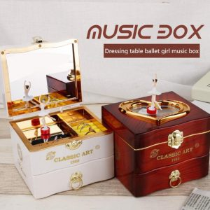 Ballerina Plastic Piano Square Women Girls Jewelry Music Box