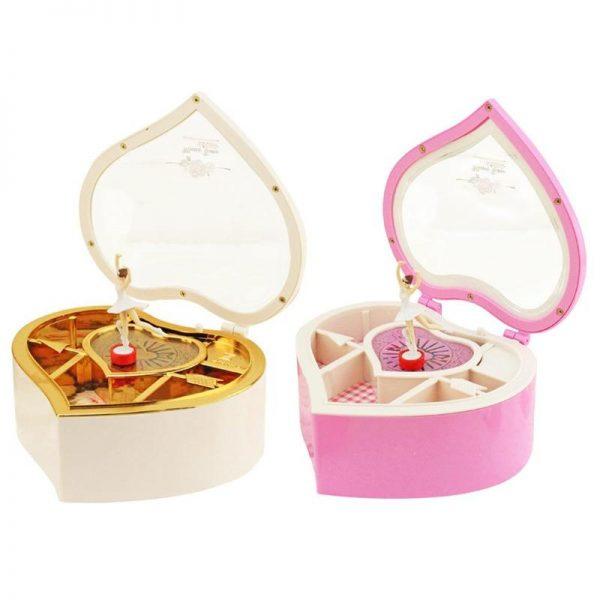 Ballerina Plastic Heart Jewelry Storage Musical Box