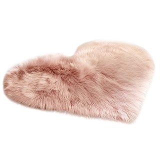 Love Heart Shape Artificial Wool Carpet Non Slip Mat Rug