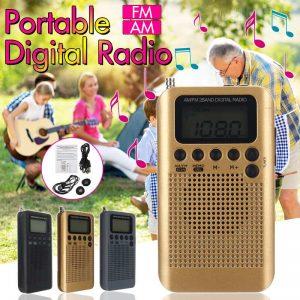 Small Handy Digital Radio Pocket 2 Band AM FM Rechargeable USB