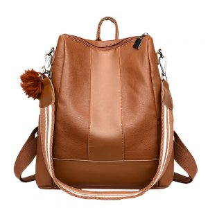 PU Leather Brown Zipper Handbag Cross Body Women Girls Fashion