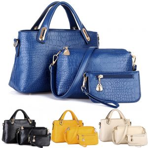 Three Pieces Set PU Leather Tote Purse Wallet Zipper Women Fashion Hand Bag