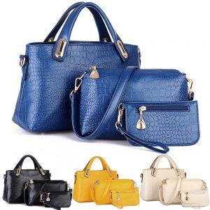 Three Pieces Set PU Leather Tote Purse Wallet Zipper Women Fashion Hand Bag