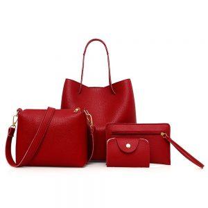 Four Pieces Set PU Leather Women Girls Zipper Shoulder Wallet Tote Handbag
