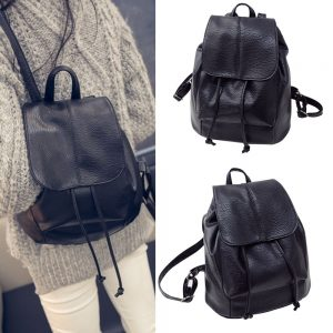 Popular Casual PU Leather Women Girls Shoulder Backpack