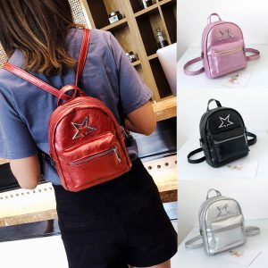Star Fashion PU Leather Girls Women School Bag Zipper Backpack
