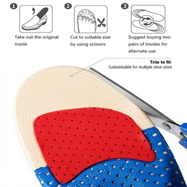 One Pair Unisex Sport Silicone Breathable Shock Absorption Shoe Insoles