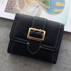 Short Simple Cards Coin Slot PU Leather Women Wallet