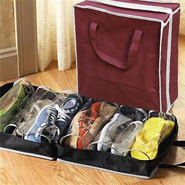 6 Slots Light Handy Shoe Storage Travel Zipped Bag