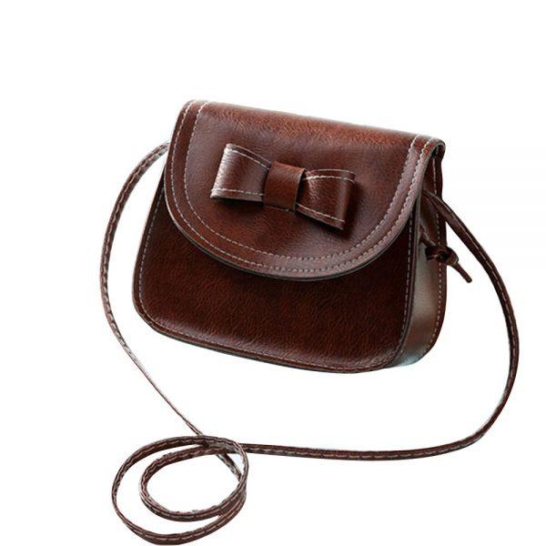 Small Bowknot Messenger Crosbody PU Leather Women Purse