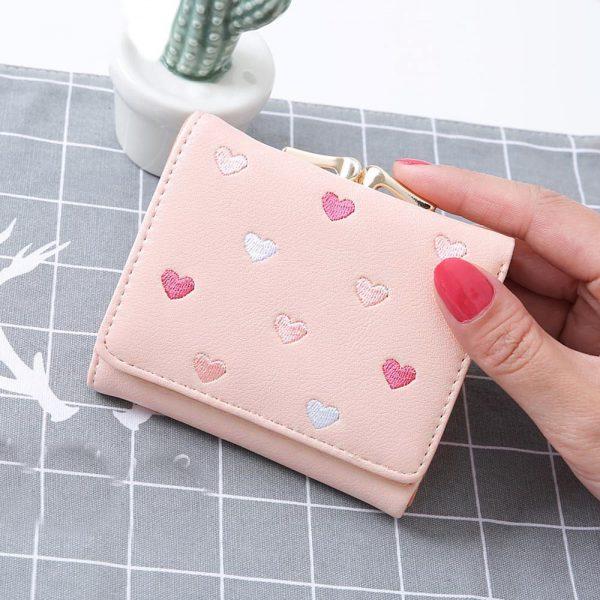 Pretty Multi Color Heart Pattern PU Leather Women Wallet