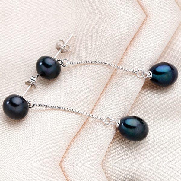 Elegant Sterling Silver Genuine Natural Freshwater Pearl Long Women Earrings