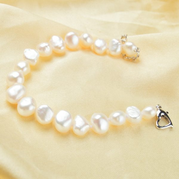 Beautiful Genuine White Freshwater Pearl Baroque Women Bracelet