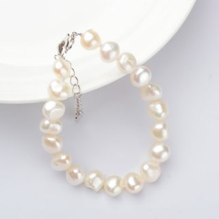 Beautiful Genuine White Freshwater Pearl Baroque Women Bracelet