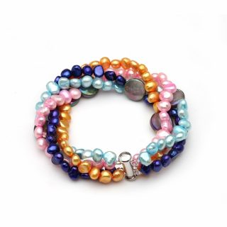 Gorgeous Colorful Multi Layer Genuine Natural Freshwater Pearl Women Bracelet