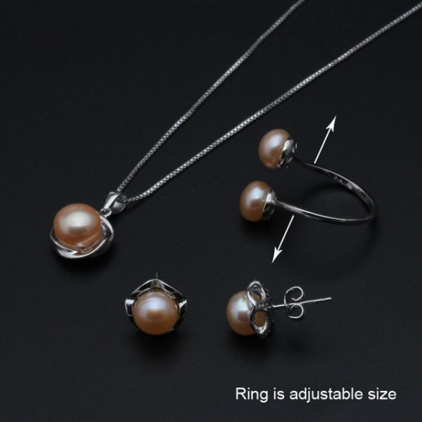 925 Sterling Silver genuine Natural Freshwater Necklace Earrings Women Jewelry Set