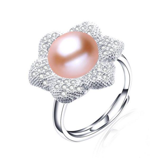 Elegant Genuine Natural Freshwater Pearl Sterling Silver Adjustable Women Ring