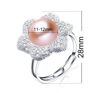 Elegant Genuine Natural Freshwater Pearl Sterling Silver Adjustable Women Ring