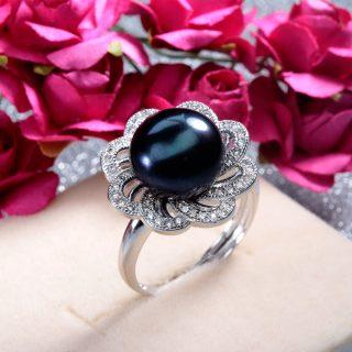 Luxury Round Black Genuine Natural Freshwater Pearl Zircon Silver Adjustable Women Ring
