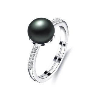 Classy Genuine Freshwater Pearl Zircon Sterling Silver Women Adjustable Ring
