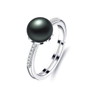Classy Genuine Freshwater Pearl Zircon Sterling Silver Women Adjustable Ring
